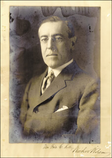 PRESIDENT WOODROW WILSON - AUTOGRAPHED INSCRIBED PHOTOGRAPH