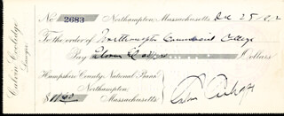 PRESIDENT CALVIN COOLIDGE - AUTOGRAPHED SIGNED CHECK 12/25/1912