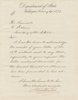 HAMILTON FISH - MANUSCRIPT LETTER SIGNED 02/19/1873