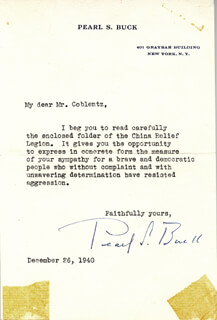 Autographs: PEARL S. BUCK - TYPED LETTER SIGNED 12/26/1940