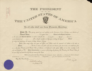 PRESIDENT WILLIAM H. TAFT - MILITARY APPOINTMENT SIGNED 09/21/1909 CO-SIGNED BY: BRIGADIER GENERAL ROBERT SHAW OLIVER