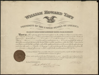 Autographs: PRESIDENT WILLIAM H. TAFT - CIVIL APPOINTMENT SIGNED 01/11/1912 CO-SIGNED BY: FRANK H. HITCHCOCK