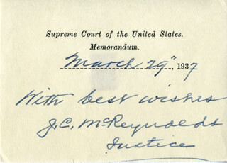 ASSOCIATE JUSTICE JAMES C. MCREYNOLDS - MEMORANDUM SIGNED 03/29/1937