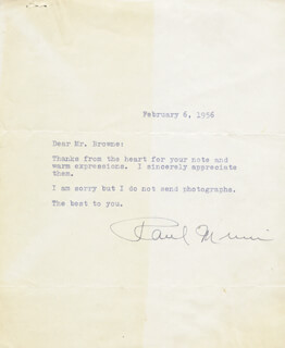 PAUL MUNI - TYPED LETTER SIGNED 02/06/1956