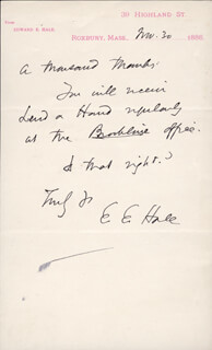 Autographs: EDWARD EVERETT HALE - AUTOGRAPH NOTE SIGNED 11/30/1886