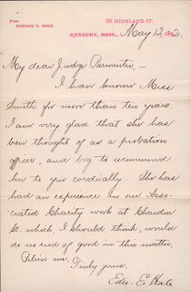 EDWARD EVERETT HALE - MANUSCRIPT LETTER SIGNED 05/12/1892