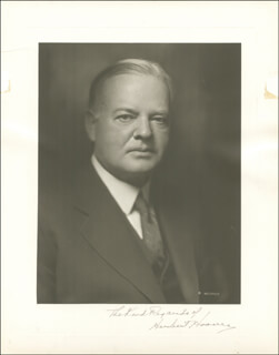 PRESIDENT HERBERT HOOVER - AUTOGRAPHED SIGNED PHOTOGRAPH