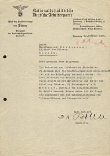 GENERAL ERNST W. BOHLE - TYPED LETTER SIGNED 02/12/1935