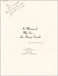 Autographs: MARGUERITA OSWALD - INSCRIBED PAMPHLET SIGNED 05/02/1969