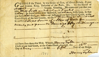 HENRY TYLER - DOCUMENT DOUBLE SIGNED 05/16/1776