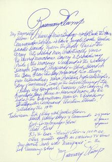ROSEMARY DECAMP - AUTOGRAPH STATEMENT SIGNED CIRCA 1984