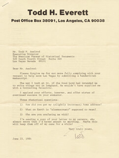 TODD H. EVERETT - TYPED LETTER SIGNED 06/25/1984