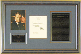 Autographs: ROBERT F. KENNEDY - TYPED LETTER SIGNED 05/31/1962