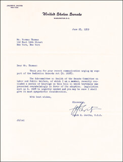 JACOB K. JAVITS - TYPED LETTER SIGNED 06/25/1959