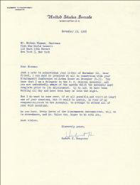 VICE PRESIDENT HUBERT H. HUMPHREY - TYPED LETTER SIGNED 11/19/1956
