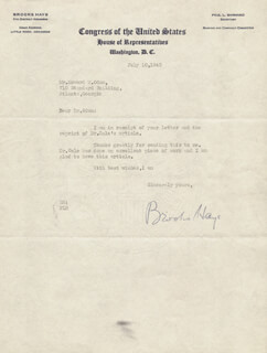 BROOKS HAYS - TYPED LETTER SIGNED 07/10/1943