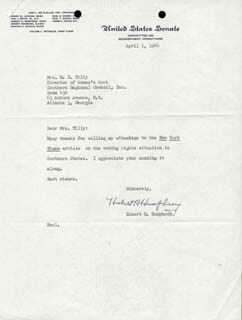 VICE PRESIDENT HUBERT H. HUMPHREY - TYPED LETTER SIGNED 04/01/1960