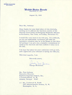GEORGE MCGOVERN - TYPED LETTER SIGNED 08/18/1969