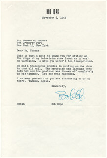 BOB HOPE - TYPED LETTER SIGNED 11/06/1953