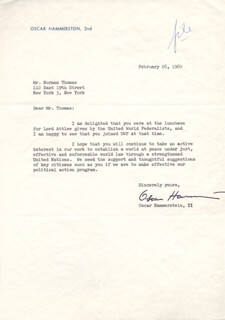 Autographs: OSCAR HAMMERSTEIN II - TYPED LETTER SIGNED 02/26/1960