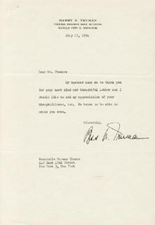 FIRST LADY BESS W. TRUMAN - TYPED LETTER SIGNED 07/15/1954
