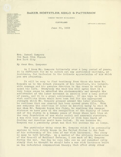 Autographs: NEWTON D. BAKER - TYPED LETTER SIGNED 06/30/1932