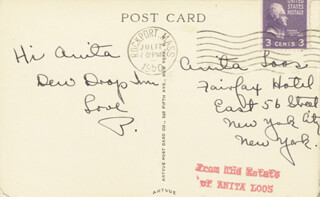 PAULETTE GODDARD - AUTOGRAPH POST CARD SIGNED 07/17/1950