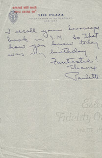 PAULETTE GODDARD - AUTOGRAPH NOTE SIGNED