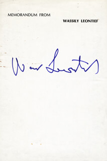 Autographs: WASSILY LEONTIEF - SIGNATURE(S)