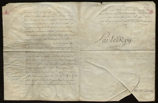 Autographs: KING LOUIS XV (FRANCE) - MANUSCRIPT DOCUMENT UNSIGNED 06/19/1742 WITH PHILIBERT ORRY