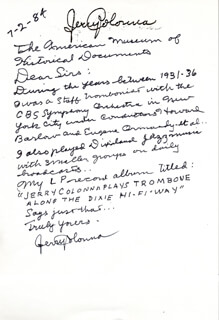 JERRY COLONNA - AUTOGRAPH LETTER SIGNED 07/02/1984