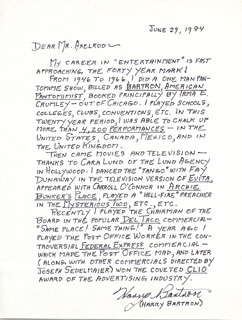Autographs: HARRY BARTRON - AUTOGRAPH LETTER SIGNED 06/29/1984