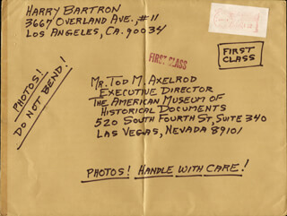 Autographs: HARRY BARTRON - AUTOGRAPH ENVELOPE SIGNED 06/29/1984