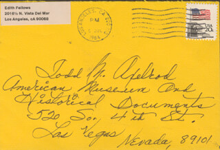 EDITH FELLOWS - AUTOGRAPH ENVELOPE UNSIGNED CIRCA 1984