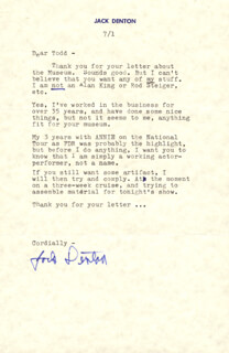 JACK DENTON - TYPED LETTER SIGNED 07/01/1984