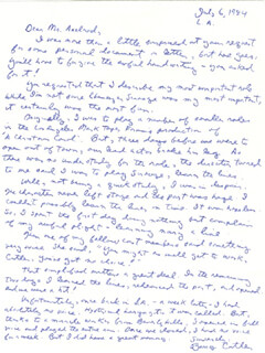 BARRY CUTLER - AUTOGRAPH LETTER SIGNED 07/06/1984