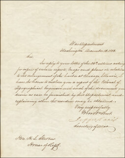 PRESIDENT JEFFERSON DAVIS (CONFEDERATE STATES OF AMERICA) - MANUSCRIPT LETTER SIGNED 12/13/1853