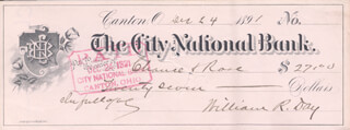 ASSOCIATE JUSTICE WILLIAM R. DAY - AUTOGRAPHED SIGNED CHECK 12/24/1891