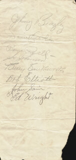 THE BOSTON BRAVES - AUTOGRAPH CIRCA 1947 CO-SIGNED BY: JOHNNY SAIN, SILAS K. JOHNSON, BILLY SOUTHWORTH, DANNY LITWHILER, BOB MR. TEAM ELLIOTT, JOHN TWO-GAME JOHNNY BEAZLEY, BAMA (CARVEL WILLIAM) ROWELL, HENDERSON E. ED WRIGHT