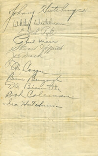 PHIL MASI - AUTOGRAPH CO-SIGNED BY: IRA K. HUTCHINSON, WHITEY (W.F.) WIETELMANN, JOHNNY HUTCHINGS, EWALD LEFTY PYLE, STEWART HOFFERTH, JOE MACK, MORT COOPER, BENNY BENGOUGH, DEL BISSONETTE, BOB COLEMAN