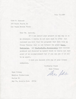 RUSS GIBSON - TYPED LETTER SIGNED 07/10/1984