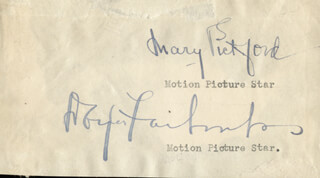 MARY PICKFORD - AUTOGRAPH CO-SIGNED BY: DOUGLAS FAIRBANKS SR.