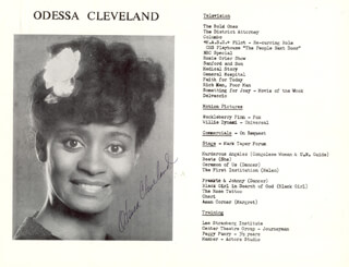 ODESSA CLEVELAND - AUTOGRAPHED SIGNED PHOTOGRAPH