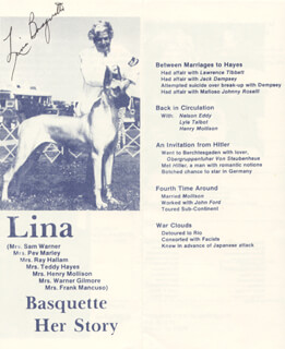 LINA BASQUETTE - PAMPHLET SIGNED