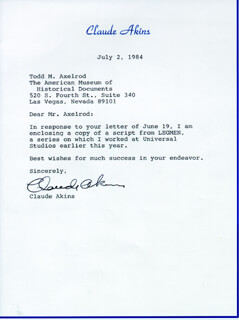 CLAUDE AKINS - TYPED LETTER SIGNED 07/02/1984
