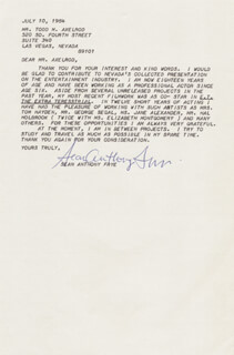 SEAN ANTHONY FRYE - TYPED LETTER SIGNED 07/10/1984