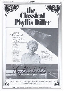 PHYLLIS DILLER - ADVERTISEMENT SIGNED