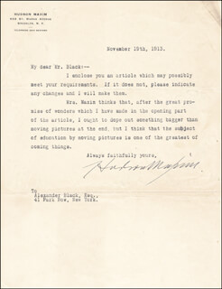 HUDSON MAXIM - TYPED LETTER SIGNED 11/19/1913