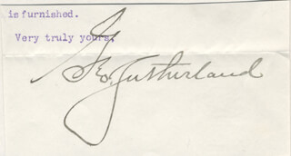 ASSOCIATE JUSTICE GEORGE SUTHERLAND - CLIPPED SIGNATURE