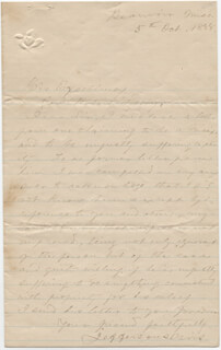 Autographs: PRESIDENT JEFFERSON DAVIS (CONFEDERATE STATES OF AMERICA) - AUTOGRAPH LETTER SIGNED 10/05/1888